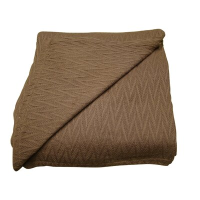 Herringbone Thermal Cotton Throw Blanket Size: Twin, Color: Chocolate