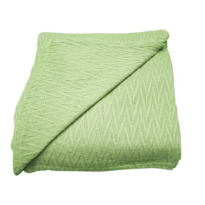 Herringbone Thermal Cotton Throw Blanket Color: Sage, Size: Full / Queen