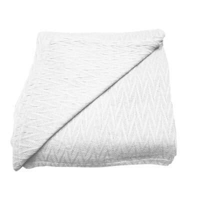 Herringbone Thermal Cotton Throw Blanket Size: Twin, Color: White