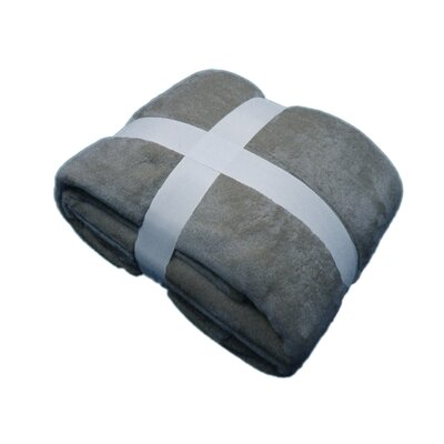 Plush Velvet Blanket Color: Gray, Size: King