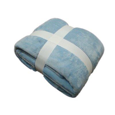 Plush Velvet Blanket Color: Light Blue, Size: King