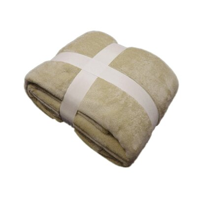 Plush Velvet Blanket Color: Tan, Size: Queen