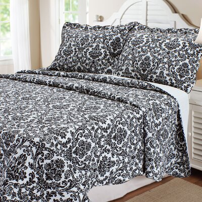 Damask Cotton 3 Piece Quilt Set Size: King