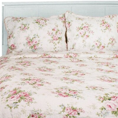 Spring Rose 3 Piece Quilt Set Size: King