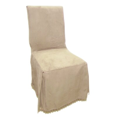 Faux Suede Dining Chair Slipcover Upholstery: Sand