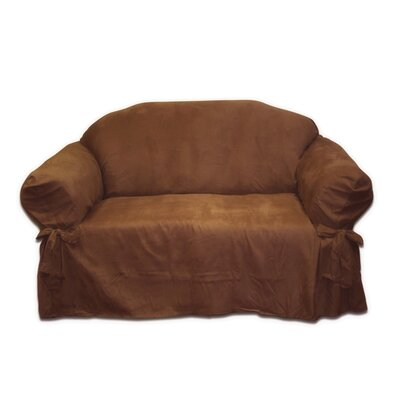 Faux Suede Loveseat Slipcover Upholstery: Chocolate