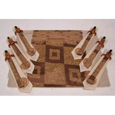 Poly Silk Jacquard Placemat In Golden Square (set Of 4)