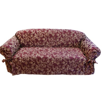 Jacquard Scroll Box Cushion Loveseat Slipcover Upholstery: Burgundy