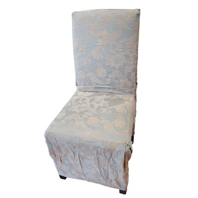 Jacquard Scroll Dining Chair Slipcover Upholstery: Sage
