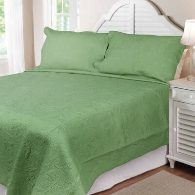Cotton Reversible Quilt Set Size: Queen, Color: Green