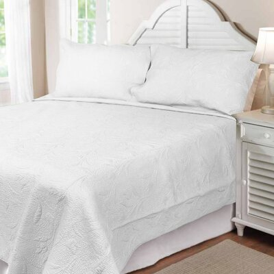 Cotton Reversible Quilt Set Color: White, Size: King