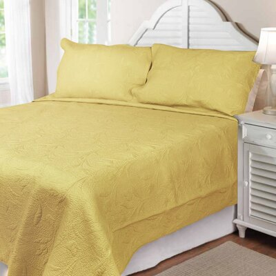 Cotton Reversible Quilt Set Size: King, Color: Yellow