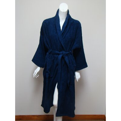 Terry Bath Robe Color: Navy Blue
