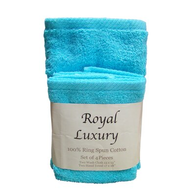 4 Piece Towel Set Color: Teal