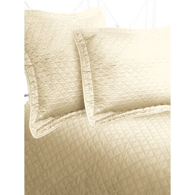 Luxury Cotton Sateen Diamond Coverlet Size: Twin, Color: Beige