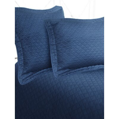 Luxury Cotton Sateen Diamond Coverlet Size: King, Color: Navy
