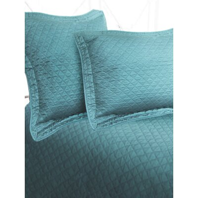 Luxury Cotton Sateen Diamond Coverlet Size: King, Color: Seaspray