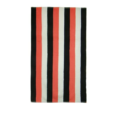 Stripe Beach Towel Color: Coral / Black / White