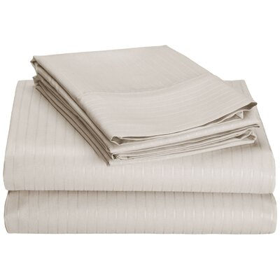 4 Piece 600 Thread Count 100% Egyptian Quality Cotton Stripe Sheet Set Size: King, Color: Ivory