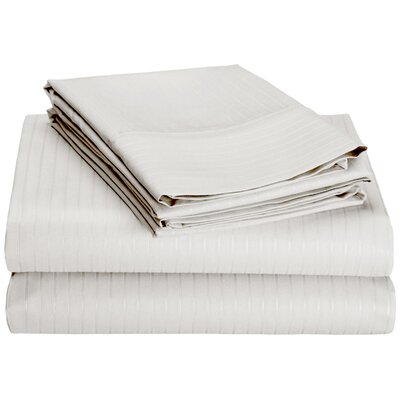 4 Piece 600 Thread Count 100% Egyptian Quality Cotton Stripe Sheet Set Size: Full, Color: White
