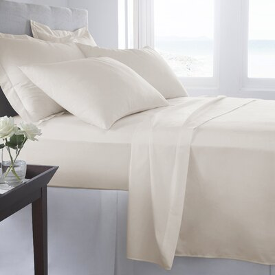 500 Thread Count 100% Cotton Solid Sheet Set Size: King, Color: Marshmallow