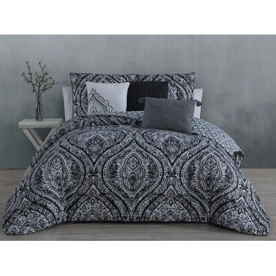 Vera 6 Piece Comforter Set Color: Black, Size: King