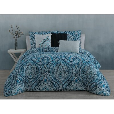Vera 6 Piece Comforter Set Color: Blue, Size: Queen