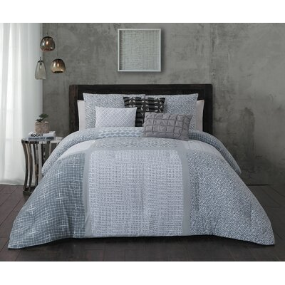 Talia 6 Piece Comforter Set Color: Gray, Size: King