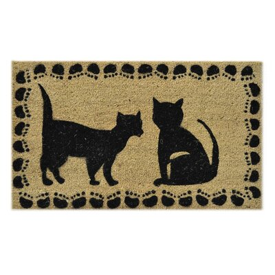 "Two Cats Doormat Size: 18"" x 30"