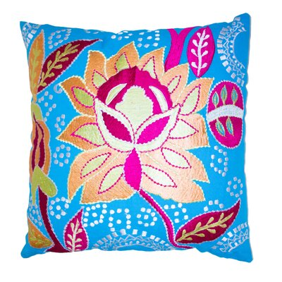 Cotton Throw Pillow Color: Blue/Pink/White