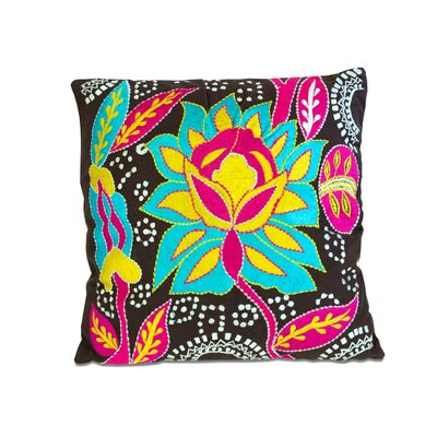Cotton Throw Pillow Color: Blue/Black/Pink/Yellow