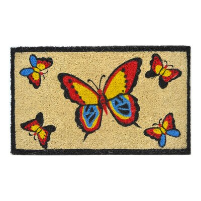 Creel Butterflies Doormat Mat Size: Rectangle 18 x 30