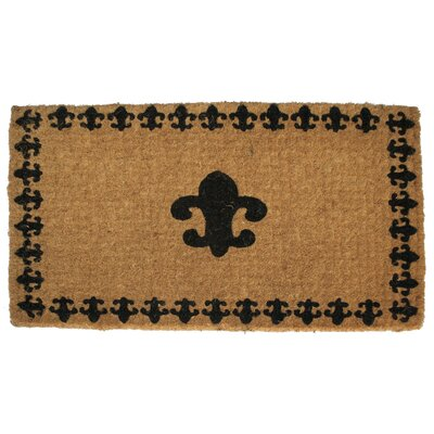 Woven Fleur Delis with Border Doormat Mat Size: Rectangle 18 x 30