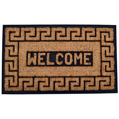 Molded Welcome Greek Key Doormat Mat Size: Rectangle 18 x 30