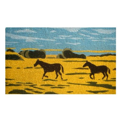 Tufted Silhouetted Horses Doormat Mat Size: Rectangle 18 x 30
