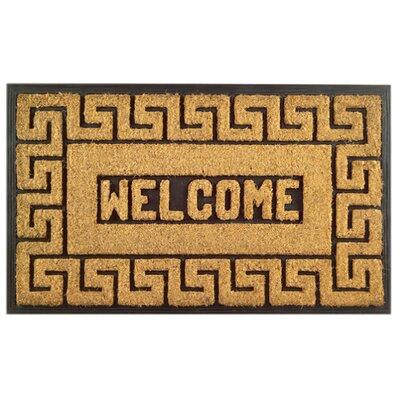 Molded Welcome Greek Key Doormat Size: 18 x 30