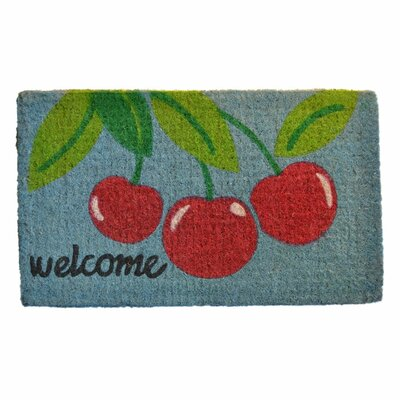 Woven Welcome Cherry Doormat Rug Size: 30 x 18