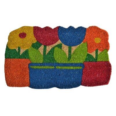 Molded Flowers Pots Doormat Rug Size: 30 x 18