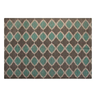 Printed Turquoise and Taupe Matrix Geometric Outdoor Area Rug