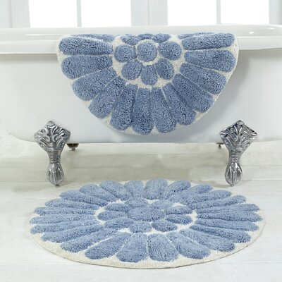 Cressona Bursting Flower 2 Piece Bath Rug Set Color: Off White / Blue