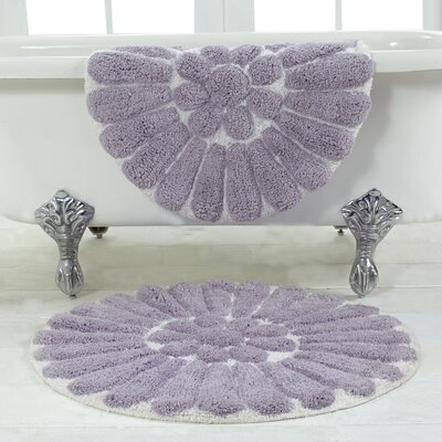 Cressona Bursting Flower 2 Piece Bath Rug Set Color: White / Lilac