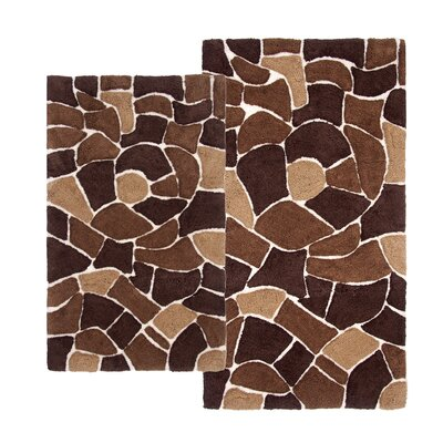 Boulder 2 Piece Bath Rug Set Color: Brown