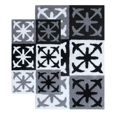Columbia 2 Piece Bath Rug Set Color: Black and White