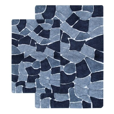 Boulder 2 Piece Bath Rug Set Color: Silver Blue