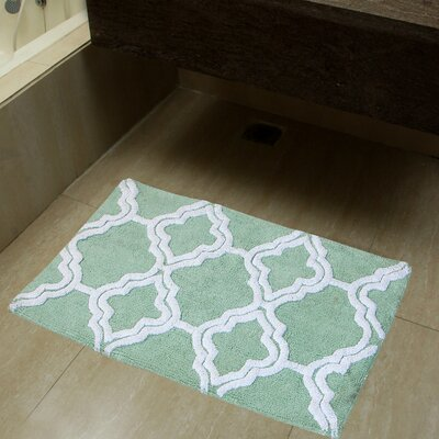 2 Piece Double Quatrefoil Bath Rug Set Color: Subtle Green