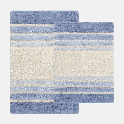 Tuxedo Stripe 2 Piece Bath Rug Set Color: Blue