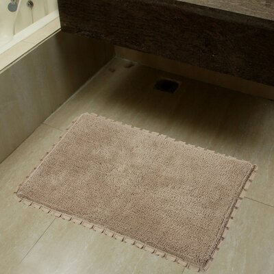 2 Piece Verona Pleat Trim Bath Rug Set Color: Linen
