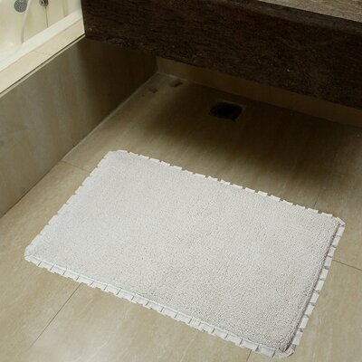 2 Piece Verona Pleat Trim Bath Rug Set Color: Ivory