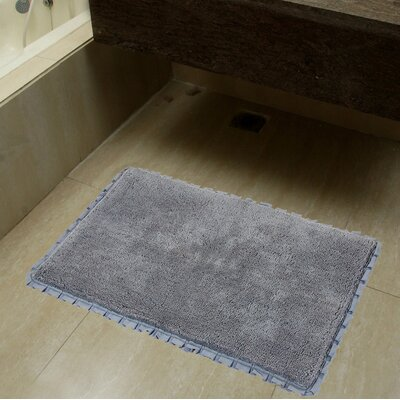 2 Piece Verona Pleat Trim Bath Rug Set Color: Grey