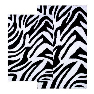 Safari Zebra Contemporary Bath Rug (2 Piece Set) Color: Black/White